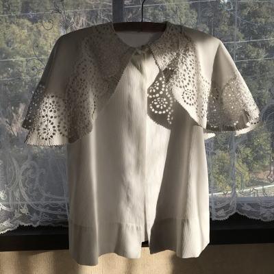 E-941 フランスアンティークベビーコート/ベビーケープ/ベビー服 カットワーク手刺繍&コットンピケ 48cm