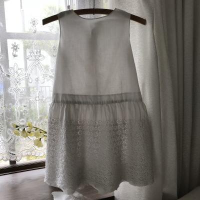 E-972 フランスアンティークベビードレス/ドールドレス カットワーク手刺繍コットン 57cm