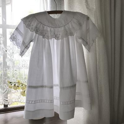 E-974 フランスアンティークベビードレス/ドールドレス ホワイトワーク手刺繍コットン 53cm