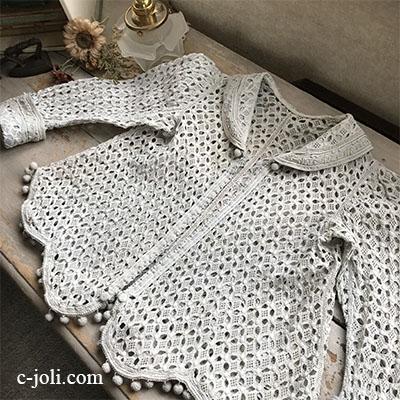 E-984 フランスアンティークベビージャケット/ドールジャケット カットワーク手刺繍リネン 40cm