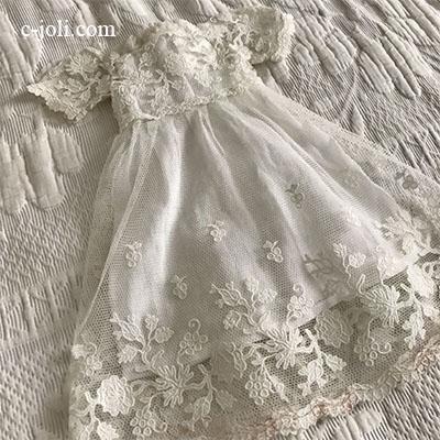 【パリ発送】E1002 フランスアンティークドールドレス 1880年/19世紀ハンドワーク刺繍レースドレス 33cm