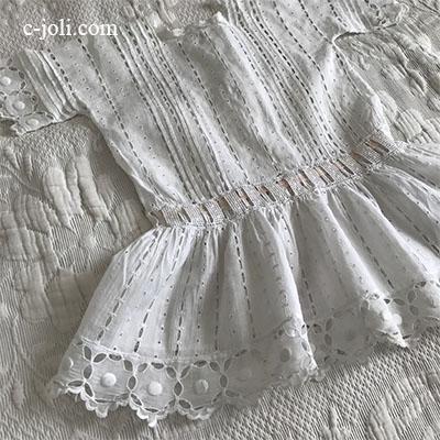 【パリ発送】E1005 フランスアンティークベビードレス/ドールドレス 手刺繍コットン  48cm