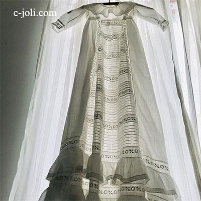 【パリ発送】E1024 フランスアンティーク洗礼式用ベビードレス/お宮参り/ドールドレス 手刺繍コットンローン 105cm