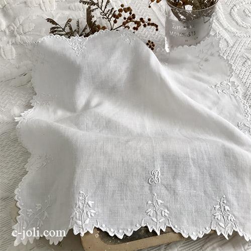 【パリ発送】E1046 フランスアンティークリネン&刺繍ハンカチ ホワイトワーク手刺繍リネンハンカチ 30.5x30cm