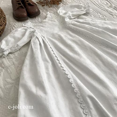 【パリ発送】E1050 フランスアンティークベビードレス/セレモニードレス/ベビー服 手刺繍&ダマスク織コットン 70cm