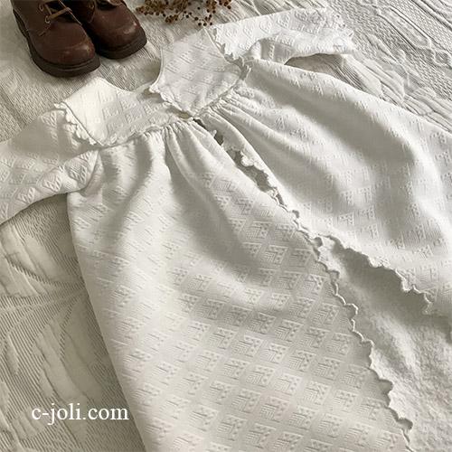 E1051 フランスアンティークベビーコート/ベビー服/セレモニードレス 手刺繍モノグラム&手刺繍コットンピケ 77cm