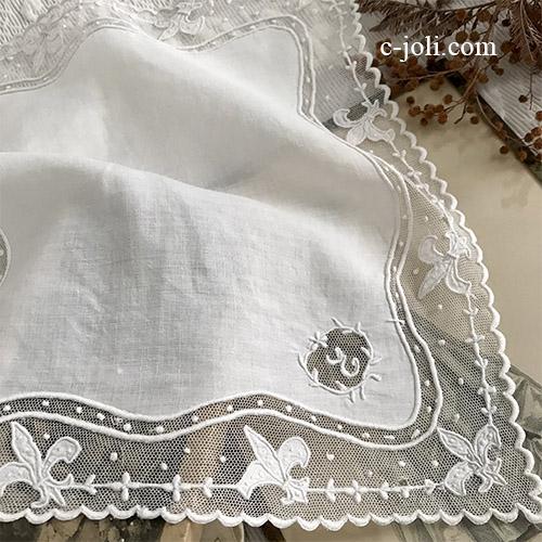 【パリ発送】E1061 フランスアンティークレース&リネンハンカチ リネン&手刺繍チュールレースハンカチ 30x29cm