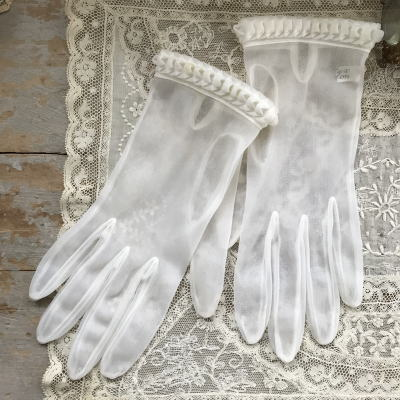 F-079 フランスアンティーク手袋 ナイロン手袋 オフホワイト