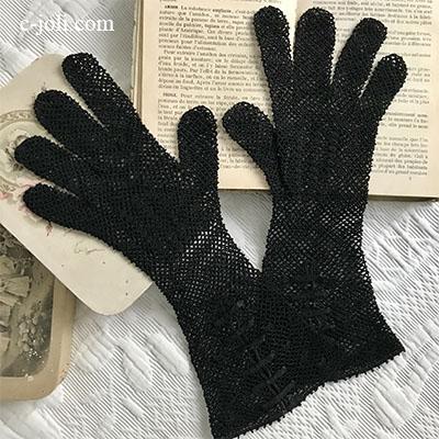 【パリ発送】F-093 フランスアンティークレース手袋 リネンクロシェレース手袋 ブラック