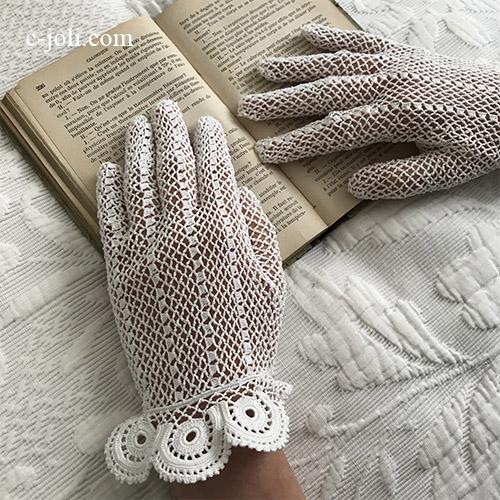 【パリ発送】F-096 フランスアンティークレース手袋/ウェディンググローブ/マリアージュ リネンクロシェレース手袋  ホワイト/白