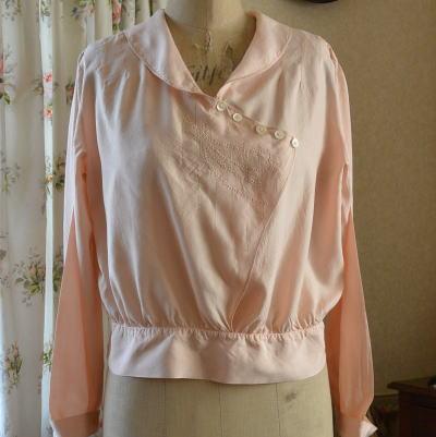 G-050 フランスアンティークシルクブラウス 絹シルク手刺繍ブラウス ピンク