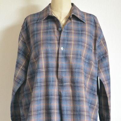 G-084 フランスアンティークコットンワークシャツ/ワンピース チェック柄