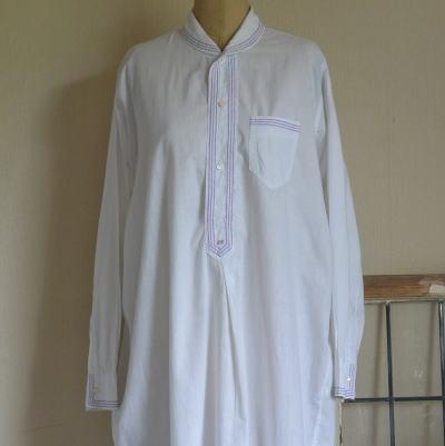 G-186 フランスアンティークコットンワークシャツ/メンズシャツ ホワイト/パープル 102cm