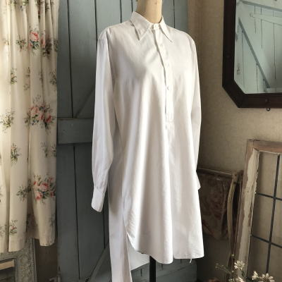 G-217 フランスアンティークコットンワークシャツ/メンズシャツ ホワイト