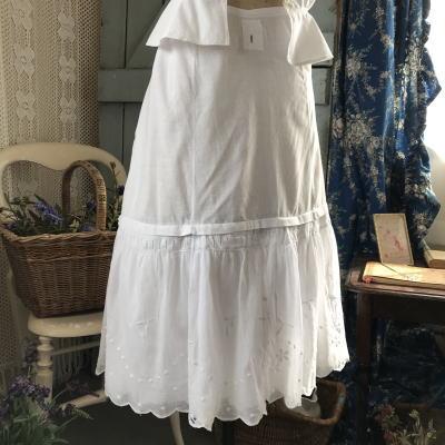 G-285 フランスアンティークスカート/ペチコート 手刺繍コットンスカート 73cm