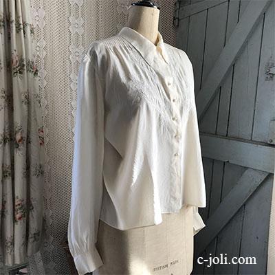 G-302 フランスアンティークシルクブラウス/トップス 手刺繍シルク