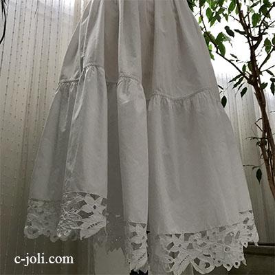 G-317 フランスアンティークスカート/ペチコート カットワーク手刺繍コットンペチスカート 67cm