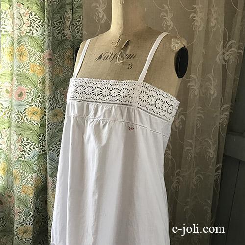 G-333 フランスアンティークコットンワンピース/ナイトドレス 手刺繍/マシーン刺繍コットン 115cm