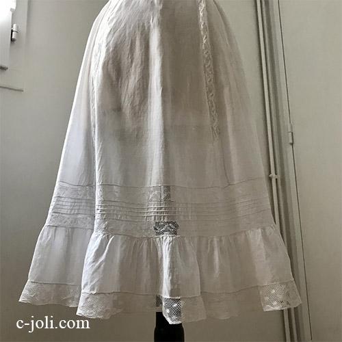 【パリ発送】G-335 フランスアンティークコットンスカート/ペチコート/ペチスカート 手刺繍コットン&レース 68cm