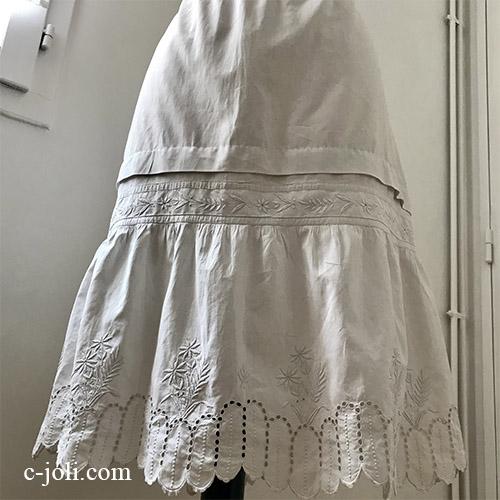 【パリ発送】G-336 フランスアンティークコットンスカート/ペチコート/ペチスカート カットワーク手刺繍コットン 61cm