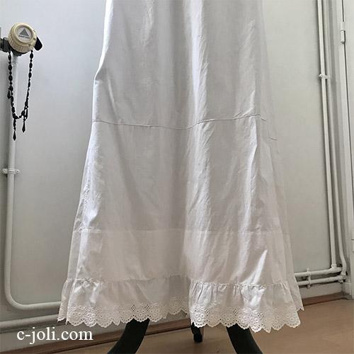 【パリ発送】G-337 フランスアンティークコットンスカート/ペチコート/ペチスカート 手刺繍コットン 100cm