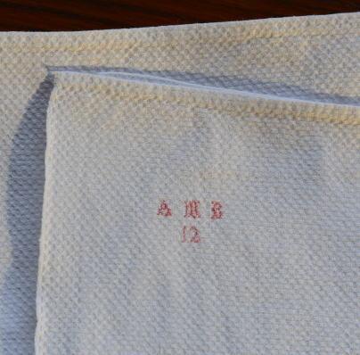 K-632 フランスアンティークコットンクロス/ゲストタオル 手刺繍クロスステッチコットン 118cm