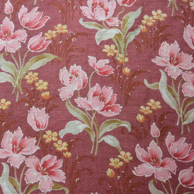 K-668 フランスアンティーク布/アンティークファブリック 1900年代花柄コットンファブリック 2m30