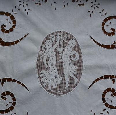 L1677 フランスアンティーク手刺繍&レースクロス カットワーク手刺繍コットン&マシーンフィレレース 51.5x81cm