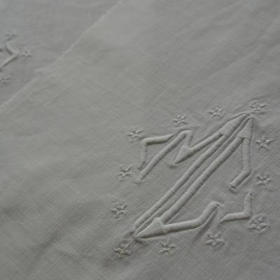 L1715 フランスアンティークリネン2枚 手刺繍モノグラム&リネンクロス
