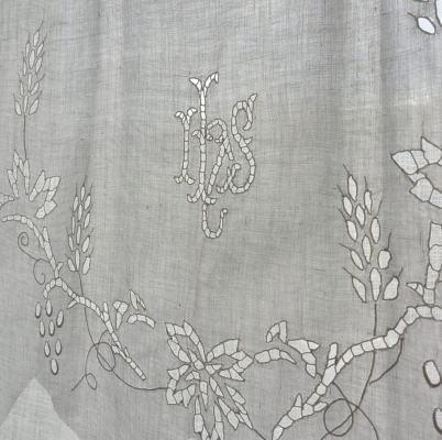 L2011 フランスアンティークリネン刺繍クロス カットワーク手刺繍リネンクロス 43x50cm