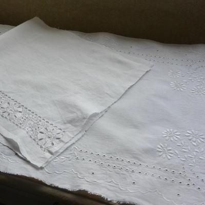 L2121 イギリスアンティーク刺繍パーツ リネン&レース/マシーン刺繍リネン 2枚