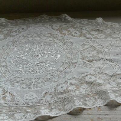 L2160 フランスアンティークレースクロス 1900年頃ホワイトワーク手刺繍ノルマンディレース 73x38cm