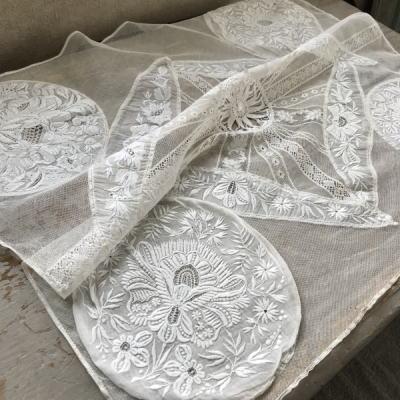 L2335 フランスアンティークレースクロス ホワイトワーク手刺繍&リネンチュールレース&テープレース 58x51cm