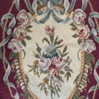 L2422 フランスアンティーク刺繍クロス ローズ柄ミディポワン/プチポワン手刺繍クロス 34x42cm