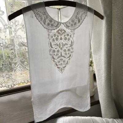 L2428 フランスアンティークレースフロント/シャツフロント 手刺繍&綿ローン