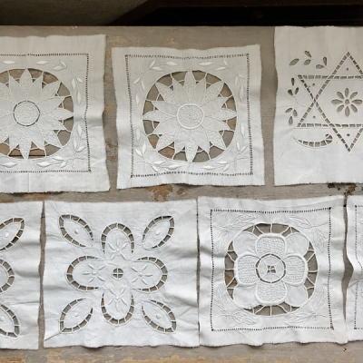 L2446 フランスアンティーク刺繍パーツ カットワーク手刺繍リネンクロス7枚