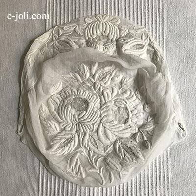【パリ発送】L2488 フランスアンティーク手刺繍 ホワイトワーク綿ローンボンネット(帽子) 大人サイズ 25x25cm