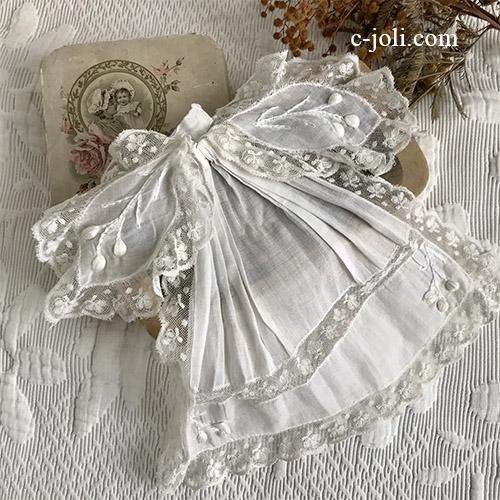 【パリ発送】L2643 フランスアンティークレースつけ襟/レースジャボ(胸元飾り) 手刺繍綿ローン&マシーンレース
