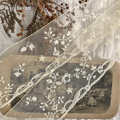 【パリ発送】L2655 フランスアンティークレーストリム/テープレース/ボーダーレース 19世紀アプリカシオンリネンチュールレース 1m10