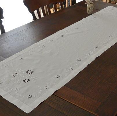 T2273 イギリスアンティークリネンテーブルランナー カットワーク手刺繍リネン 1m33