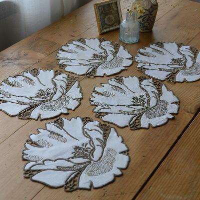 T2290 イギリスアンティークレースドイリー5枚 手刺繍リネン 15.5cm