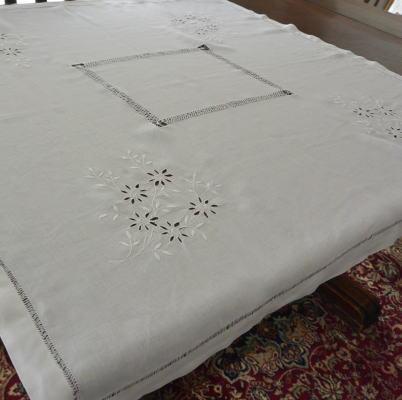 T2453 フランスアンティークリネンテーブルクロス カットワーク手刺繍&ドロンワークリネン 99x93cm