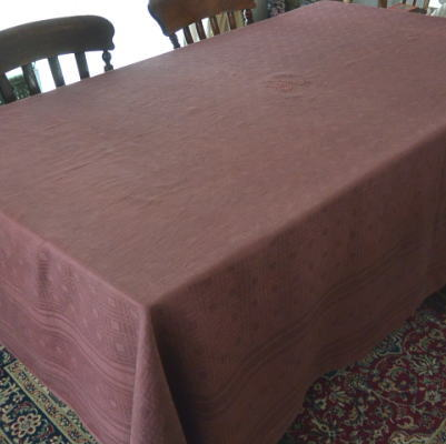 T2512 フランスアンティークリネンテーブルクロス 手刺繍モノグラム&ダマスク織リネン パープル 233x172cm