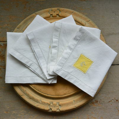T2548 フランスアンティークリネンテーブルナプキン/リネンクロス5枚 手刺繍モノグラムリネン 27x26cm
