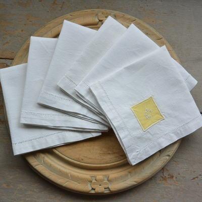 T2549 フランスアンティークリネンテーブルナプキン/リネンクロス6枚 手刺繍モノグラムリネン 27x26cm