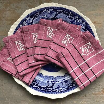T2617 フランスアンティークリネンテーブルナプキン/リネンクロス6枚 手刺繍リネン