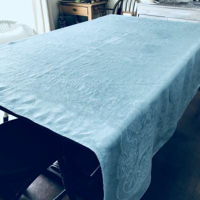 T2745 フランスアンティークリネン大判テーブルクロス 薔薇柄ダマスク織リネン 水色 158x156cm