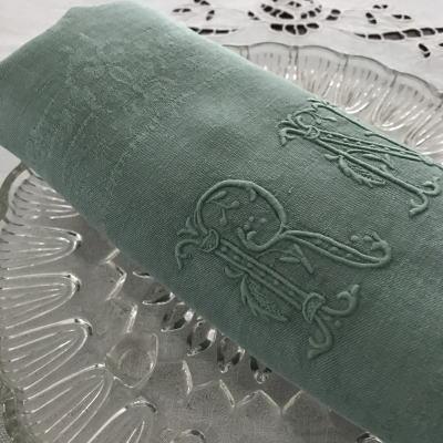 T2760 フランスアンティークリネンテーブルナプキン/リネンクロス1枚 手刺繍モノグラム&ダマスク織リネン 80x68cm