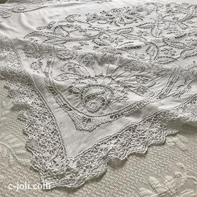 【パリ発送】T2915 フランスアンティークリネンテーブルクロス カットワーク手刺繍リネン&ボビンレース 173x145cm