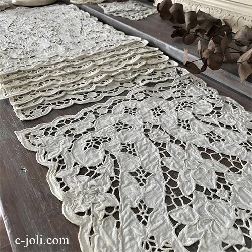 T2946 イギリスアンティークリネンテーブルマット8枚 カットワーク手刺繍リネンクロス 生成り 41x26cm